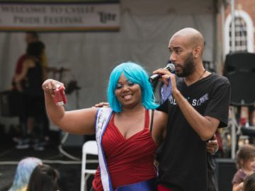 Remy St. Clair, hosting the Cville Pride Festival