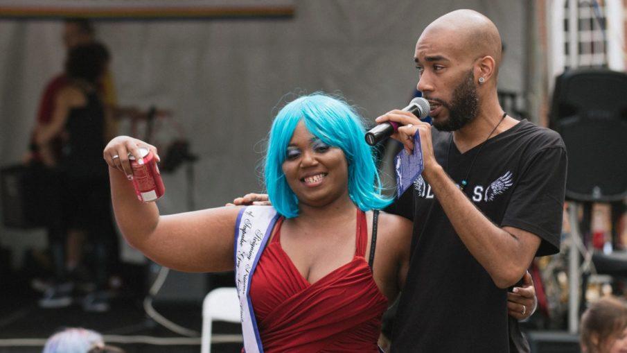 Remy St. Clair, hosting the Cville Pride Festival
