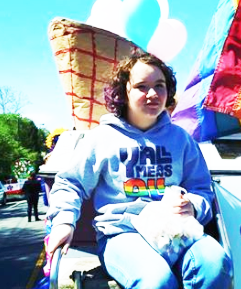 Cville Pride volunteer at Dogwood parade