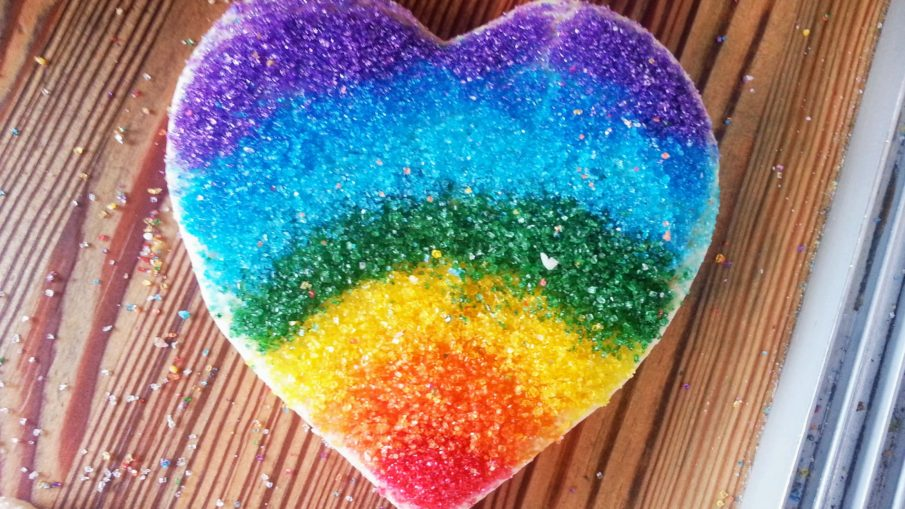 rainbow heart cookie