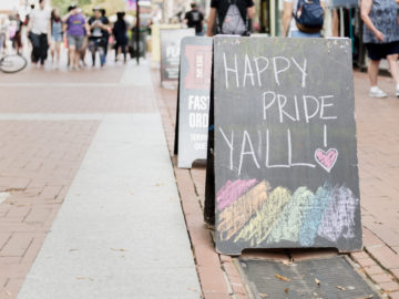 cville pride festival sign by a local supportive restaurant