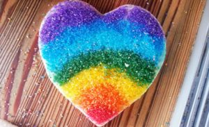rainbow heart cookie